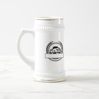 Vintage Pick Up Truck Black and White Retro Beer Stein