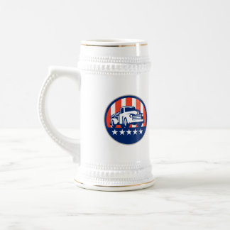Vintage Pick Up Truck USA Flag Circle Retro Beer Stein