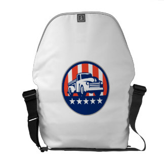 Vintage Pick Up Truck USA Flag Circle Retro Courier Bag