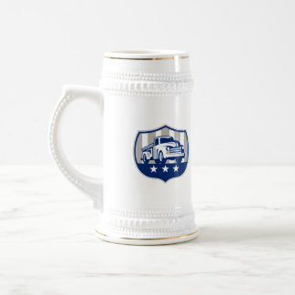 Vintage Pick Up Truck USA Flag Crest Retro Beer Stein