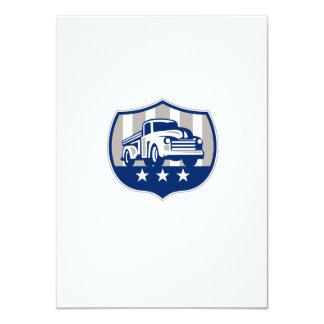 Vintage Pick Up Truck USA Flag Crest Retro Card