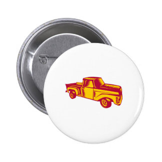 Vintage Pick Up Truck Woodcut Pinback Button