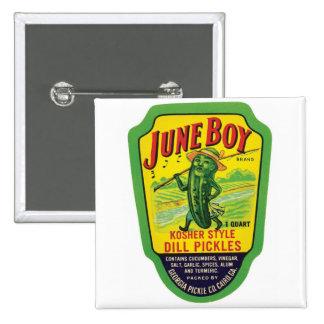 Vintage Pickles Food Product Label Button