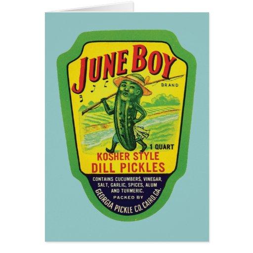 Vintage Pickles Food Product Label Greeting Card