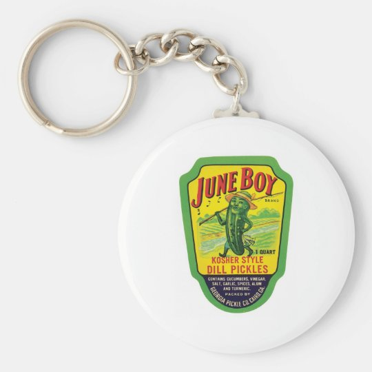 Vintage Pickles Food Product Label Keychain