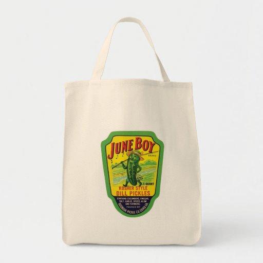 Vintage Pickles Food Product Label Tote Bags