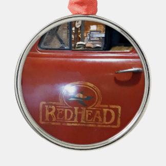 """Vintage Pickup """"Red head"""" Truck Metal Ornament"""