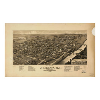 Vintage Pictorial Map of Albany Georgia (1885) Poster