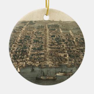 Vintage Pictorial Map of Alexandria VA (1863) Christmas Tree Ornament