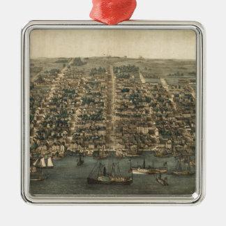 Vintage Pictorial Map of Alexandria VA (1863) Christmas Tree Ornaments
