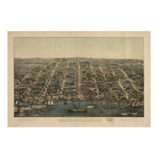 Vintage Pictorial Map of Alexandria VA (1863) Poster