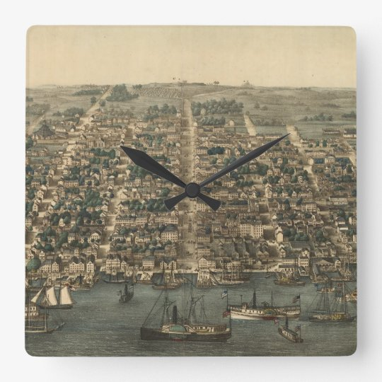 Vintage Pictorial Map of Alexandria VA (1863) Square Wall Clock
