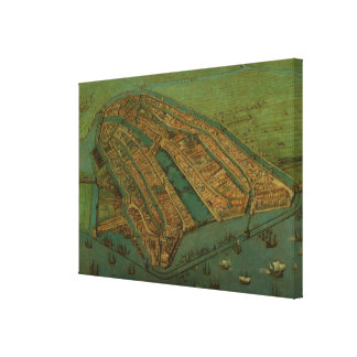 Vintage Pictorial Map of Amsterdam (1538) Canvas Print