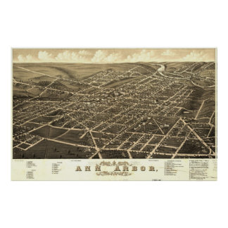 Vintage Pictorial Map of Ann Arbor Michigan (1880) Poster