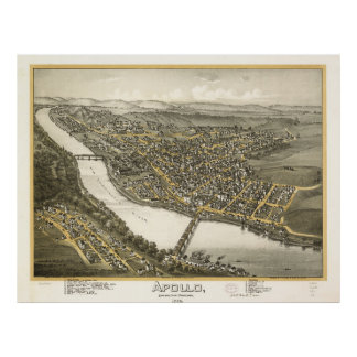 Vintage Pictorial Map of Apollo PA (1896) Poster