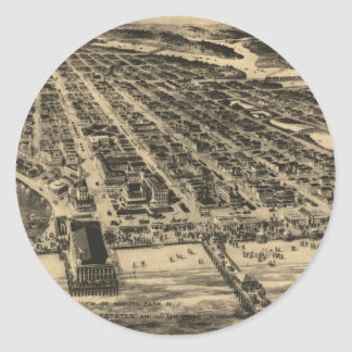 Vintage Pictorial Map of Asbury Park NJ (1910) Classic Round Sticker