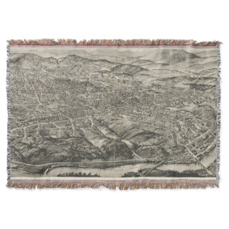 Vintage Pictorial Map of Asheville NC (1912) Throw Blanket