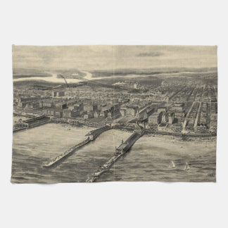 Vintage Pictorial Map of Atlantic City (1909) Hand Towel
