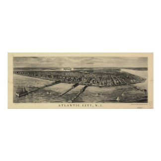 Vintage Pictorial Map of Atlantic City (1909) Poster