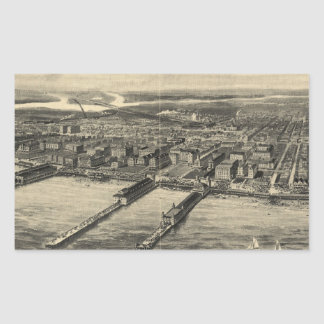 Vintage Pictorial Map of Atlantic City (1909) Rectangular Sticker