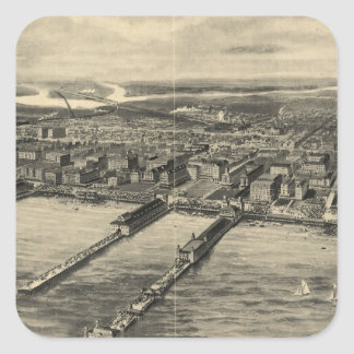 Vintage Pictorial Map of Atlantic City (1909) Square Sticker