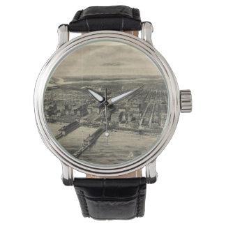 Vintage Pictorial Map of Atlantic City (1909) Wrist Watch