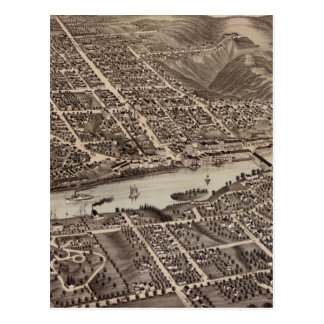 Vintage Pictorial Map of Augusta Maine (1878) Postcards