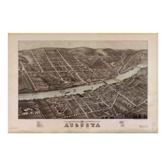 Vintage Pictorial Map of Augusta Maine (1878) Poster