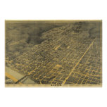Vintage Pictorial Map of Austin Texas (1887) Poster