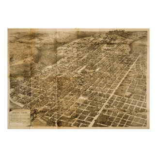 Vintage Pictorial Map of Austin Texas (1890) Poster