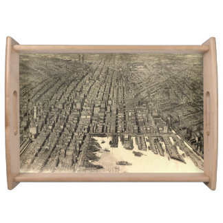 Vintage Pictorial Map of Baltimore (1912) Serving Trays
