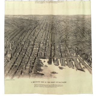 Vintage Pictorial Map of Baltimore (1912) Shower Curtain