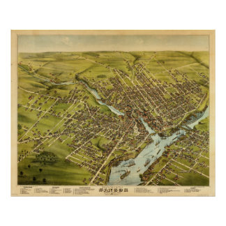 Vintage Pictorial Map of Bangor Maine (1875) Poster