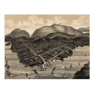 Vintage Pictorial Map of Bar Harbor (1886) Post Card