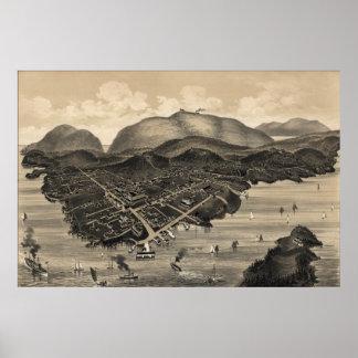 Vintage Pictorial Map of Bar Harbor (1886) Poster