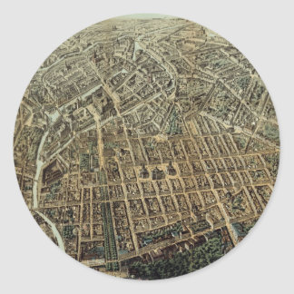Vintage Pictorial Map of Berlin (1871) Classic Round Sticker
