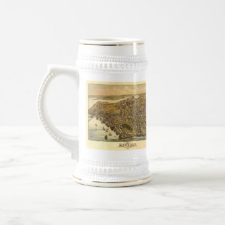 Vintage Pictorial Map of Beverly MA (1886) 18 Oz Beer Stein