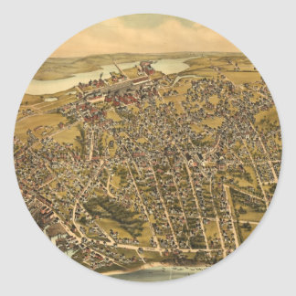 Vintage Pictorial Map of Beverly MA (1886) Classic Round Sticker