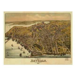 Vintage Pictorial Map of Beverly MA (1886) Poster