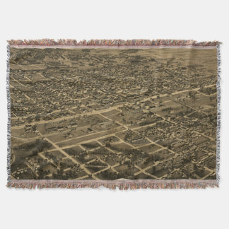Vintage Pictorial Map of Birmingham (1885) Throw Blanket