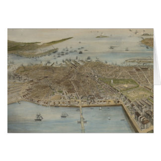Vintage Pictorial Map of Boston (1870) (2) Card