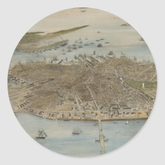Vintage Pictorial Map of Boston (1870) (2) Classic Round Sticker