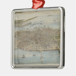 Vintage Pictorial Map of Boston (1870) (2) Metal Ornament