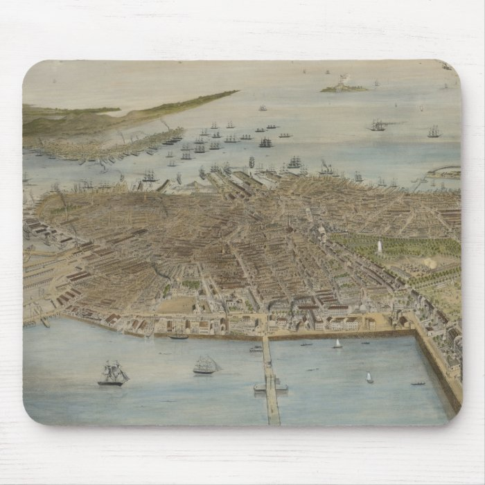 Vintage Pictorial Map of Boston (1870) (2) Mouse Pad