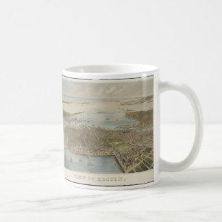 Vintage Pictorial Map of Boston (1870) (2) Classic White Coffee Mug