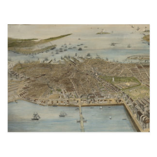 Vintage Pictorial Map of Boston (1870) (2) Postcard