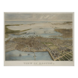 Vintage Pictorial Map of Boston (1870) (2) Poster