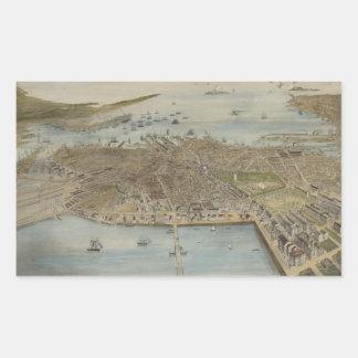 Vintage Pictorial Map of Boston (1870) (2) Rectangular Sticker