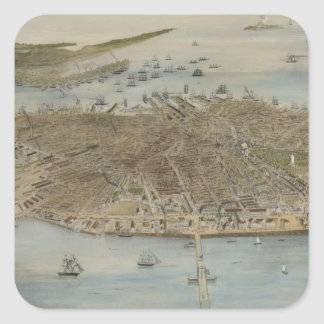 Vintage Pictorial Map of Boston (1870) (2) Square Sticker