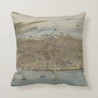 Vintage Pictorial Map of Boston (1870) (2) Throw Pillow